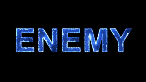 Blue lights form luminous text ENEMY. Appear, then disappear. Electric style Animation