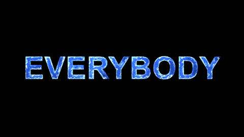 Blue lights form luminous text EVERYBODY. Appear, then disappear. Electric Animation