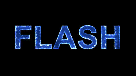 Blue lights form luminous text FLASH. Appear, then disappear. Electric style Animation