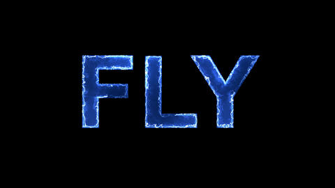 Blue lights form luminous text FLY. Appear, then disappear. Electric style Animation