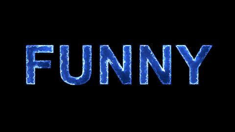 Blue lights form luminous text FUNNY. Appear, then disappear. Electric style Animation