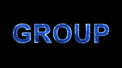 Blue lights form luminous text GROUP. Appear, then disappear. Electric style Animation