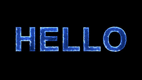 Blue lights form luminous text HELLO. Appear, then disappear. Electric style Animation