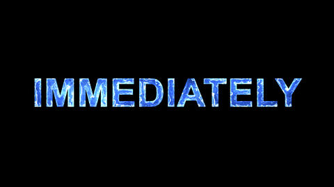 Blue lights form luminous text IMMEDIATELY. Appear, then disappear. Electric Animation