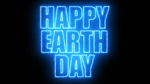 Happy earth day text, 3d rendering backdrop, computer generating, can be used Live Action