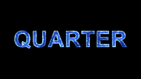 Blue lights form luminous text QUARTER. Appear, then disappear. Electric style Animation