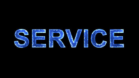 Blue lights form luminous text SERVICE. Appear, then disappear. Electric style Animation