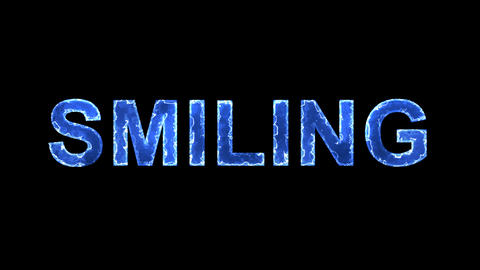Blue lights form luminous text SMILING. Appear, then disappear. Electric style Animation