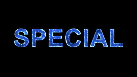 Blue lights form luminous text SPECIAL. Appear, then disappear. Electric style Animation