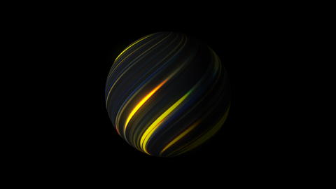 Sphere with bright glowing lines on black, 3d render background, computer Fotografía
