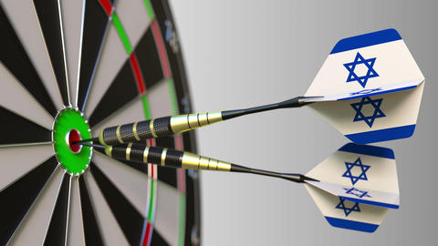 Israeli national achievement. Flags of Israel on darts hitting bullseye Footage