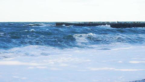 Ocean waves racing on the Beach 영상물