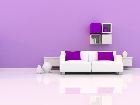 Interior of the modern room, purple wall and white sofa フォト