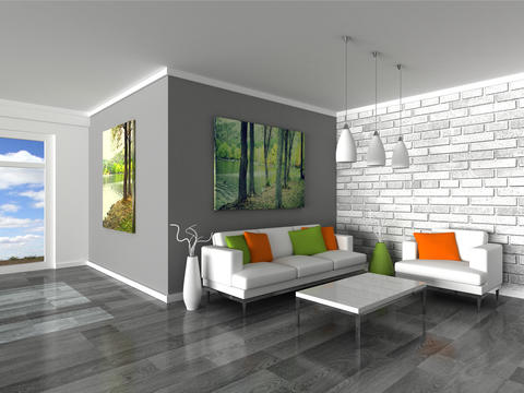 interior of the modern room, grey wall and white sofas フォト