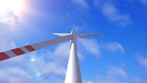 Wind generator on a background of a sky and plane Animation