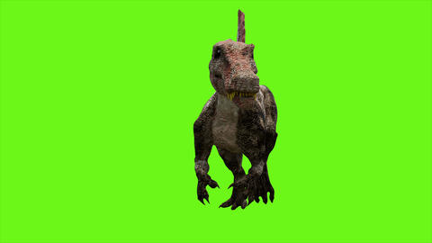Dinosaur animation on green screen. GI realistic render. 4k Animation