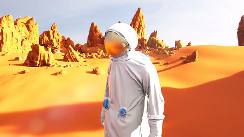 Astronaut on the Mars planet. A futuristic concept of a colonization of Mars CG動画素材