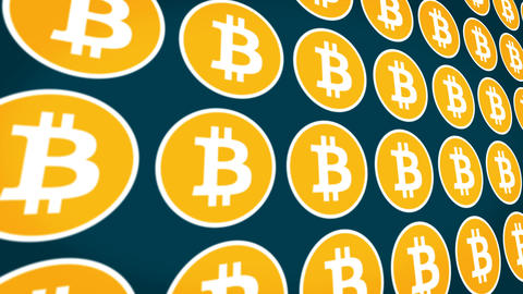 Bitcoin cryptocurrency horisontal traffic coins background Animation