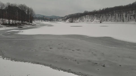 The surface of the frozen lake Footage