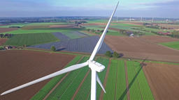 Aerial view on Wind Power, Turbine, Windmill, Energy... Stock Video Footage