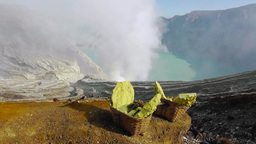 View of the Ijen volcano crater,Java Videos de Stock