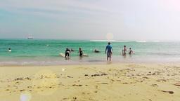 Surfers are preparing to swim.Padang Padang Beach,Bali Footage