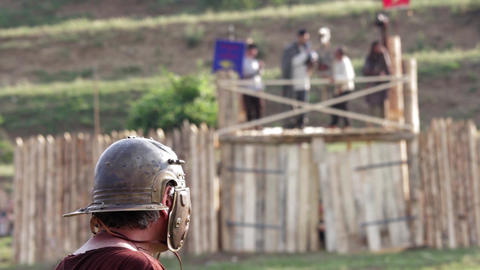 Roman soldier waiting time of the attack of enemy fortifications that see few me Footage