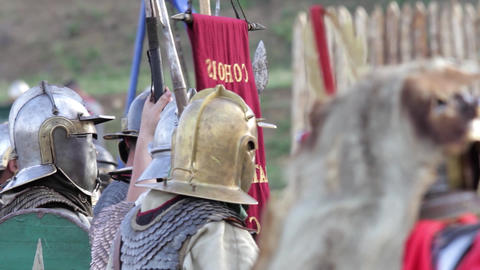 Roman soldiers waiting time of the attack of enemy fortifications 1 Footage