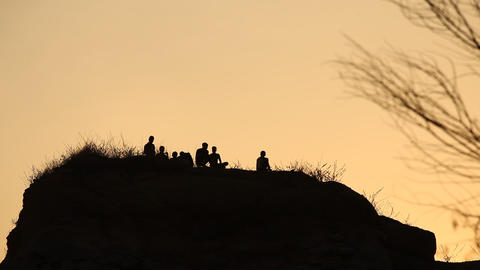 Silhouette of people on the hill Footage