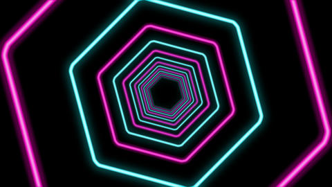 Abstract Hexagon Formed Colorful Tunnel Animation