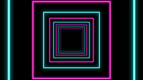 Abstract Square Shaped Multicolored Tunnel Animation