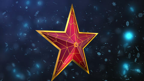 Red star and snowflakes Animation