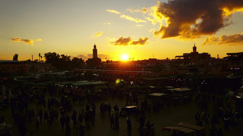 Famous Jemaa el Fna square at sunset, Marrakesh Footage