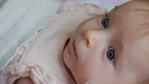 Close up of a happy three month old baby girl Footage