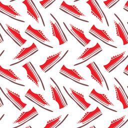 red textile sneakers with white laces, seamless pattern ベクター
