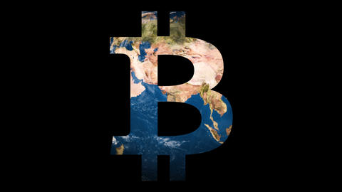 Icon sign logo Bitcoin revealing turning Earth globe ビデオ