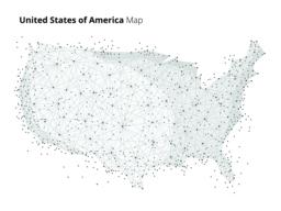 USA map in blockchain technology network style Vector
