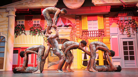African Acrobats Performance on the stage Live Action