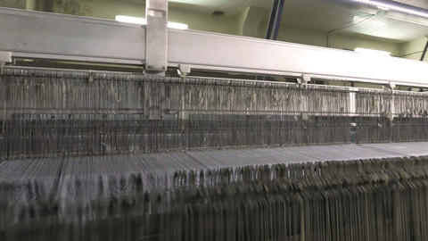 Textile Industry. Industrial Loom Live Action