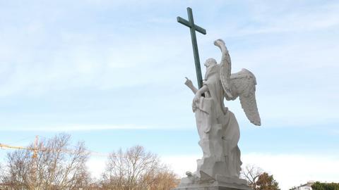 statue of an angel carved in marble, Karlsplatz church Vienna, Austria Image