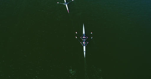 Aerial Drone Shot Rowers Live Action