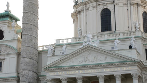 close up on the facade of the Karlsplatz church, Vienna Austria Footage