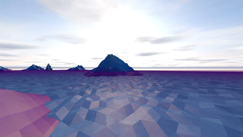 Low poly, Mountainous Landscape in Winter Animation