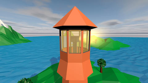 Low Poly Landscape with a Lighthouse and Boat Animation