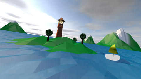Low Poly Seascape with a Searchlight and Boat Animation