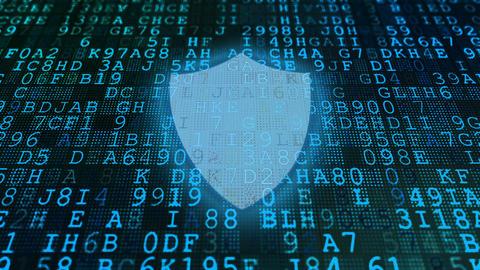Blue Code Symbols and Shield Background Animation