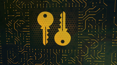 Wallet sign circuit board with golden keys Animation