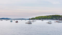 Timelapse, time lapse of marina, many moving boats in Bar Harbor, Maine Footage