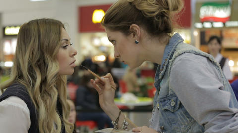 Makeup Artist Paints Girl Lips at Special Event Live Action