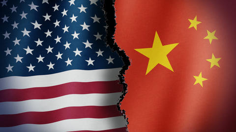 Torn United States China Flag Loop Image